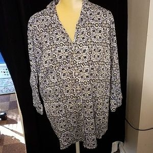 212 Collection women's 3X blouse blues & yellow
